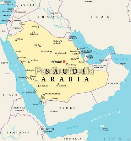 saudi arabien politische karte