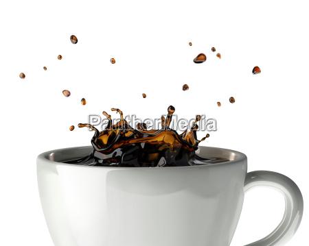 kaffee krone spritzen im becher nahaufnahme