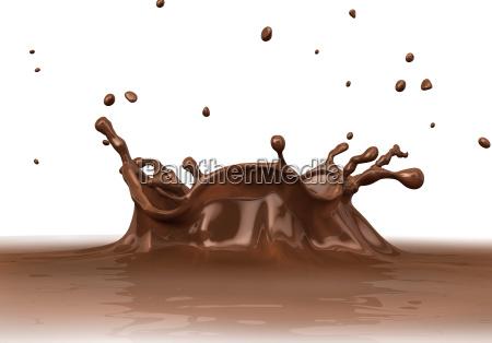 fluessige schokolade splash nahaufnahme