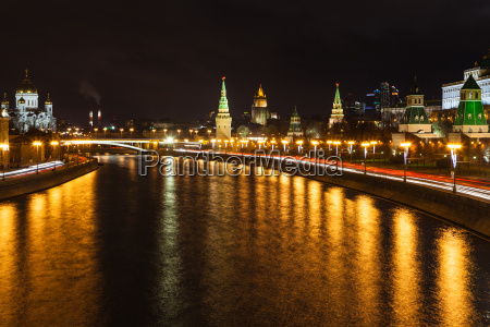 illuminated moskva river in moscow city