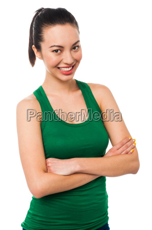 cheerful young smiling lady