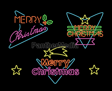 merry christmas vintage set label neon