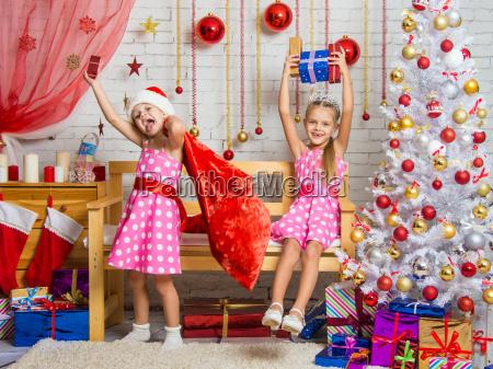 two girls having fun and happy