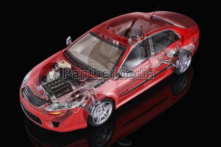 generische limousine auto detaillierte cutaway darstellung