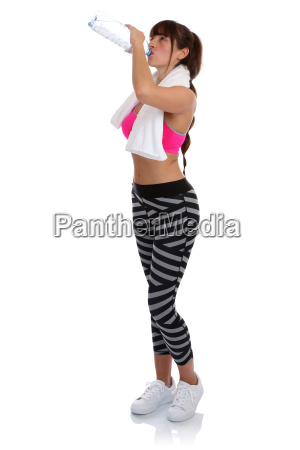 fitness woman at water drinking sport
