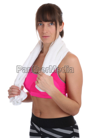 young fitness sport woman with towel