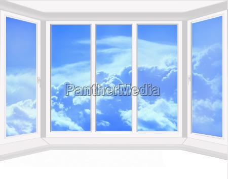 plastikfenster mit blick auf den himmel