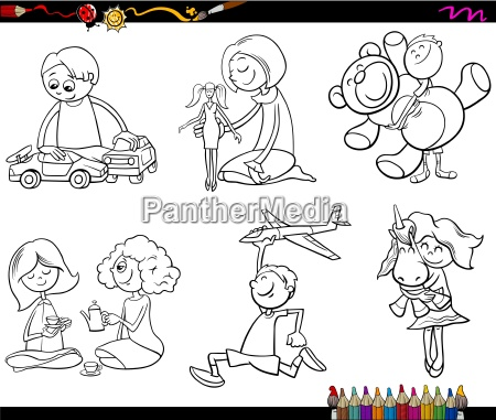 kids and toys coloring page