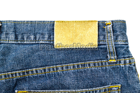 leder jeans etikett auf jeans genaeht