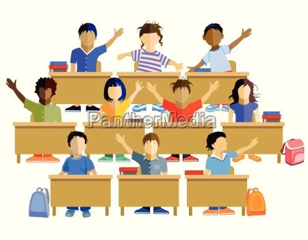 klassenzimmer mit schulkinder