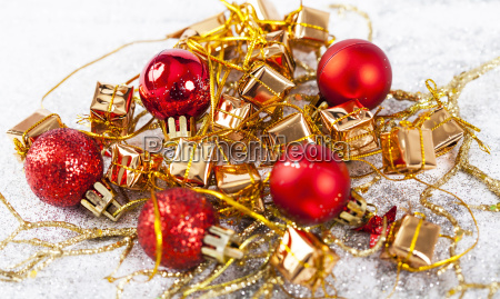 closeup on colorful chrismas ornaments