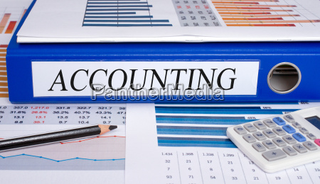 accounting blue binder in the