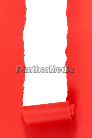 red rolled up ripped paper on