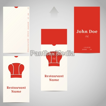 two piece business card with chef