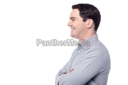 smiling middle aged man isolated on