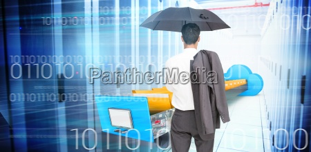 composite image of businessman standing back