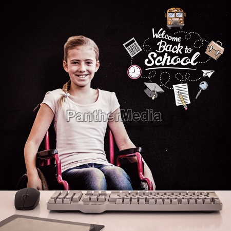 composite image of girl sitting in