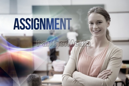 assignment against pretty teacher smiling at