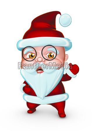 cute santa claus with glasses showing