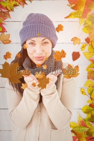 composite image of beautiful brunette smiling