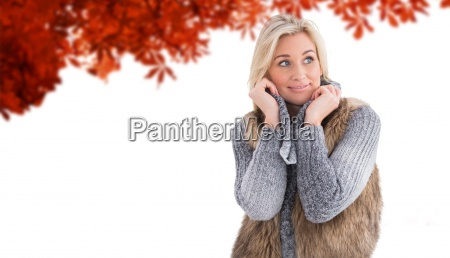 composite image of blonde in winter