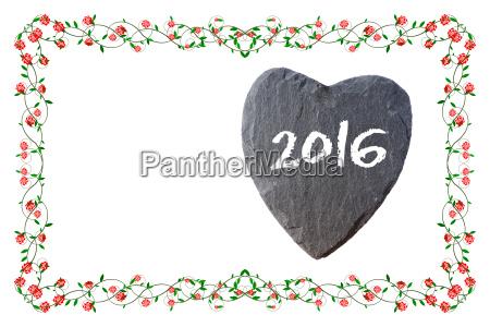 frohes neues jahr 2016 mit rosenrahmen