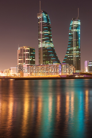 bahrain financial harbour towers at night