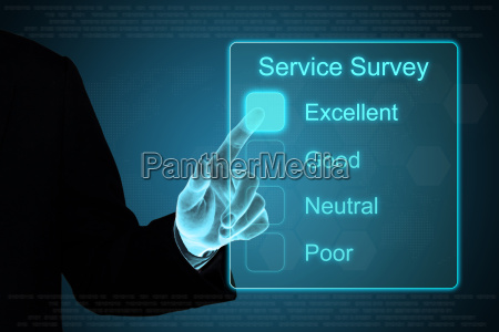business hand clicking service survey on