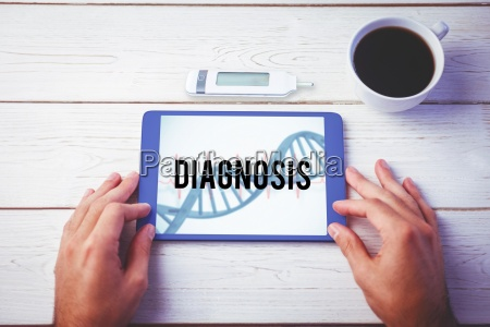 diagnosis against blue medical background with