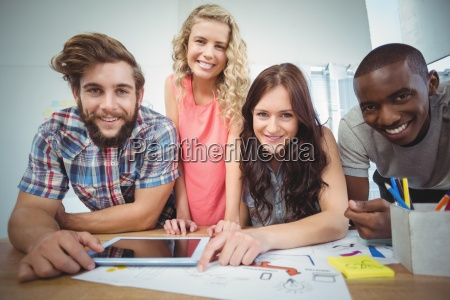portrait of smiling business team with