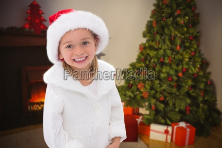 composite image of cute little girl
