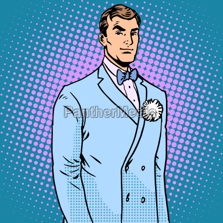 the groom in a wedding suit