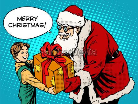 merry christmas santa claus gift gives