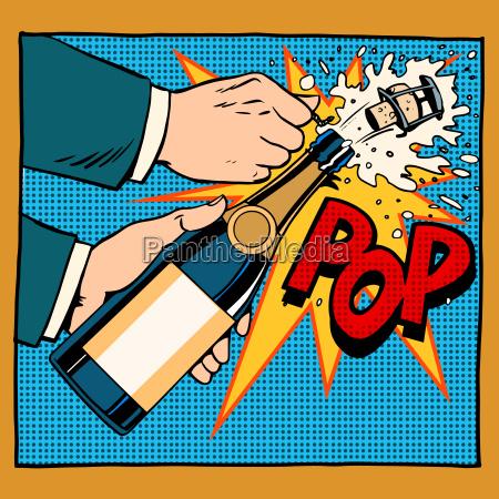 opening champagne bottle pop art retro