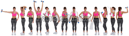 collage fitness woman in sports workout