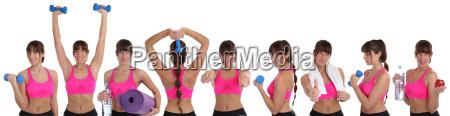 collage fitness frau beim sport workout