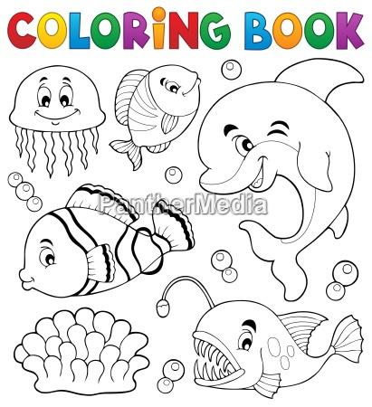 coloring book ocean fauna topic 1