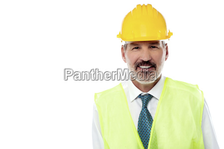 confident senior architect with jacket and