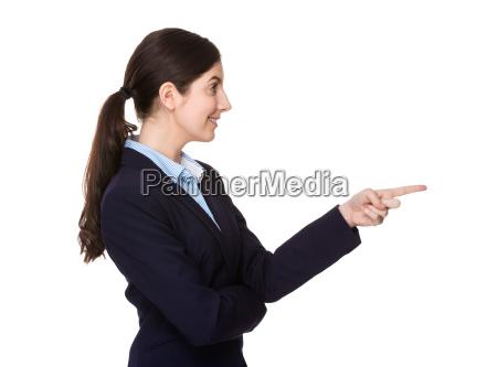 seitenprofil der geschaeftsfrau mit feinem punkt