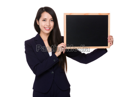 asian businesswoman showing with chalkboard