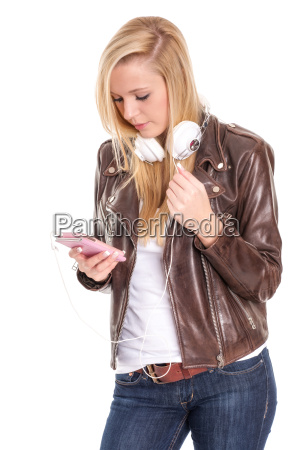 young blonde girl with mobile phone