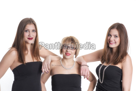 3 girlfriends in strapless tops