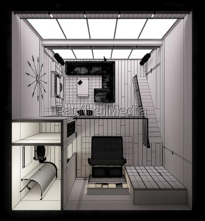 3d innenwiedergabe eines modernen winzigen lofts