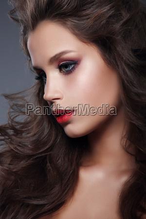 beautiful girl model with professional makeup