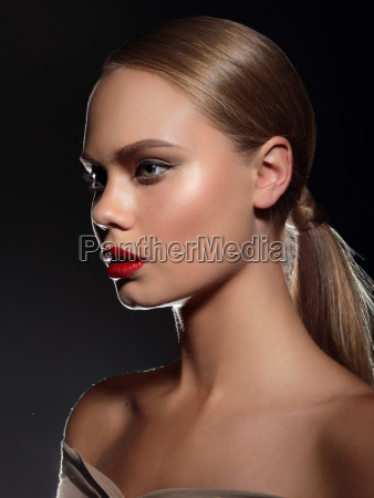 high fashion look loseup beauty portrait