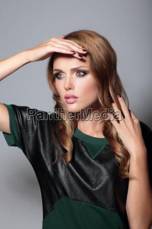 sensual model girl pose in studio