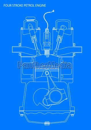 blau druck zuendung benzinmotor ottomotor viertakt