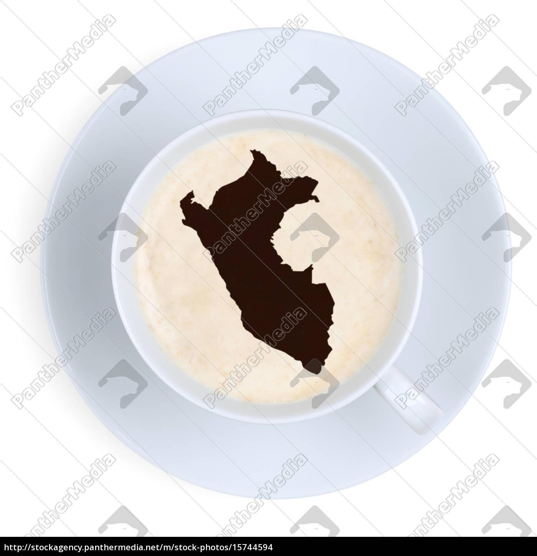 Peru Karte.Stockfoto 15744594 Kaffee In Tasse Aus Peru Karte Kaffeetasse