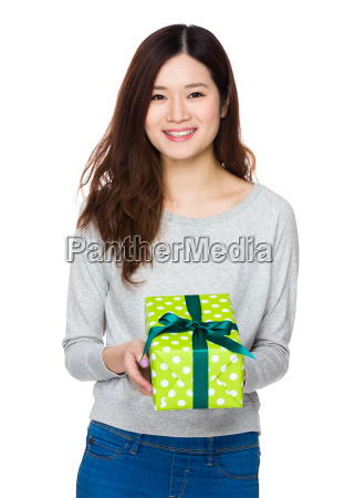 asian young woman hold with present