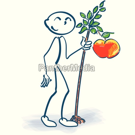 stick figure with apple trees